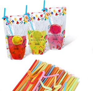 MUCH Plastic Drink Pouches with Straws, 17oz Juice Pouch Handheld Drink Bag for Berverage, Beer, Soda in Travel Take Out 50 Set