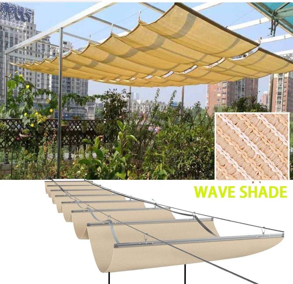 LJIANW Vela de Sombra Toldo Vela, Retráctil Wave Sail Shade Cubierta del Toldo Pérgola De Repuesto Protección UV Permeable Deslice El Cable De Alambre Poliéster 2020 Actualizado Tamaño 55: Amazon.es: Hogar