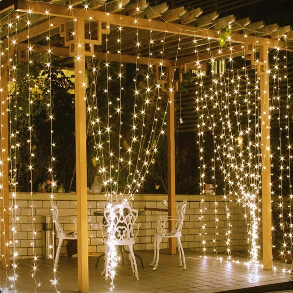 Home Lighting 600 LED Curtain Lights Fairy Starry String Lights Window Backdrop Christmas Wall Bedroom Wedding Birthday Party Decorations, Warm White