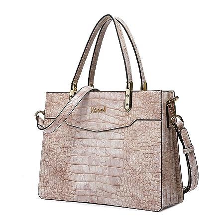 628b3f11f2f6 Kadell Ladies Top Handle Tote Bag for Women Crocodile Embossed Purses and Handbags  Beige  Amazon.co.uk  Luggage