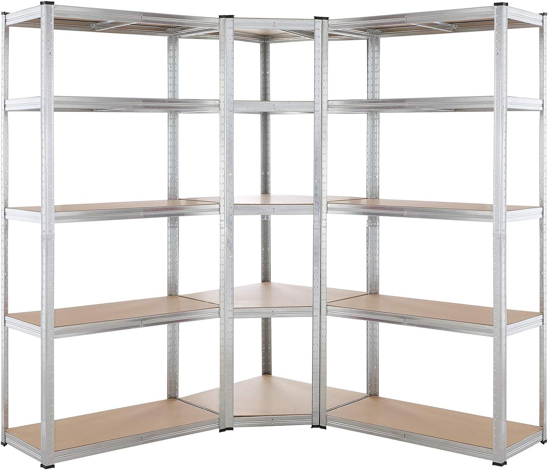 Monzana Set de 3 estanterías 1 de esquina para taller garaje 15 baldas carga de 2625kg estantes para cargas pesadas