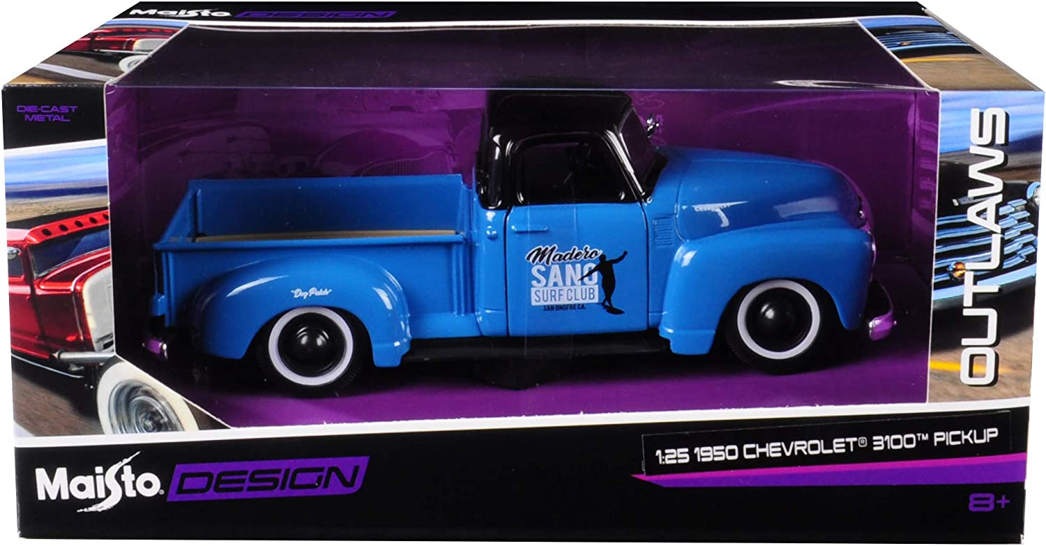 1950 Chevrolet 3100 Pickup Truck Blue with Black Top Madero Sano Surf Club Outlaws 1//25 Diecast Model Car by Maisto 32506