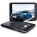 NAVISKAUTO 9 Inch Portable DVD Player With Built-in 5 Hours Rechargeable Battery Swivel LCD Screen Support CD MP3 AUX AV, Includes Headrest Mount Case Car Charger (Black)