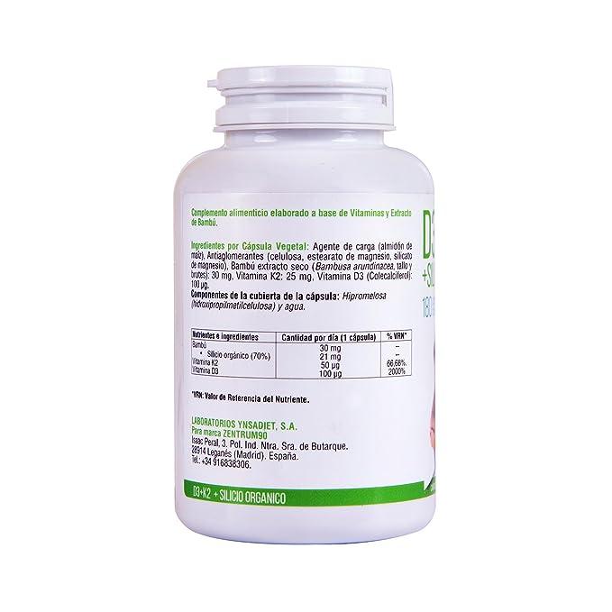 Vitamina D3, vitamina K2 y silicio orgánico para el mantenimiento de unos huesos fuertes - Vit D3 y Vit K2 para la correcta absorción y distribución del ...
