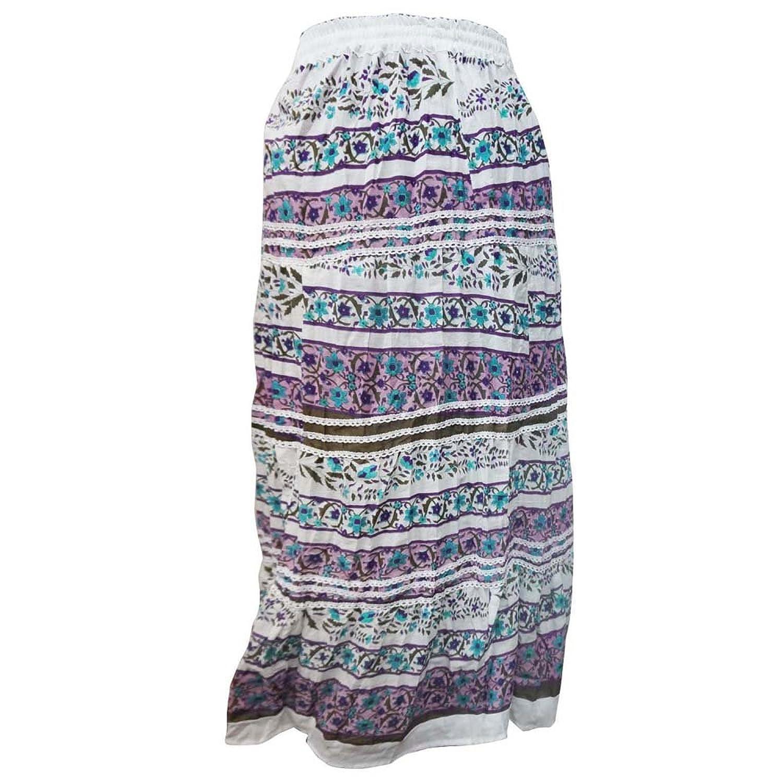 weißen Rock 100% Baumwolle floralen Design Frau Sommer tragen lässige Kleidung Strandrock