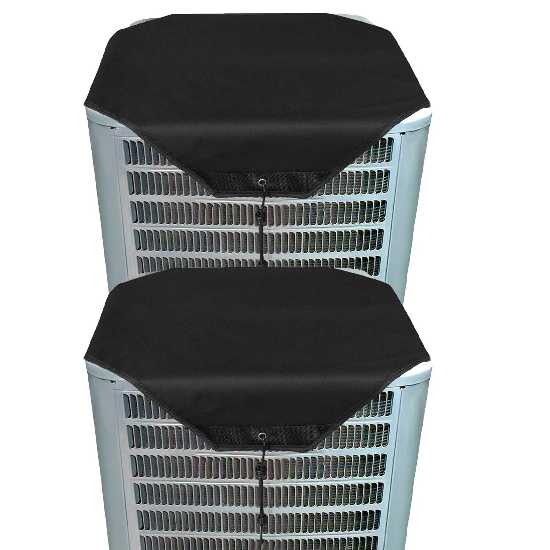 ZMAYI Ac Unit Cover - Conditioner Top Air Conditioner Leaf Guard Air Conditioner Cover for Outside Units (2 pcs Black Oxford, 36'' X 36'')