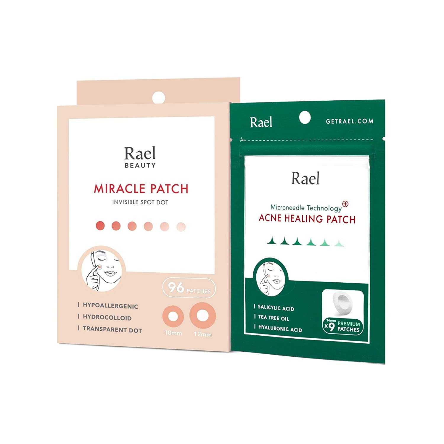 Rael Acne Pimple Healing Patch (96 Count) & Microneedle Acne Healing Patch (9 Count) Bundle