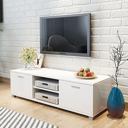 Lingjiushopping Meuble Tv Blanc Laqué Brillant 120 X 403 X