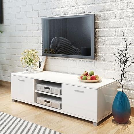 Tidyard Mesa para TV Diseño Moderno Aparador para TV Mueble TV Salón Mesa Televisión Mueble Comedor Televisor Bajo con 2 Repisas 2 Compartimientos con ...