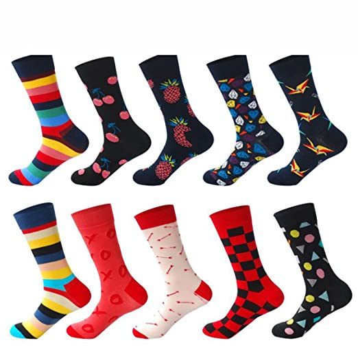 Amazon.com: PinkBTFY 10Pairs/Lot Funny Socks Men Calcetines Gifts Colorful Designer Brand Happy Socks Mix1 One Size: Clothing
