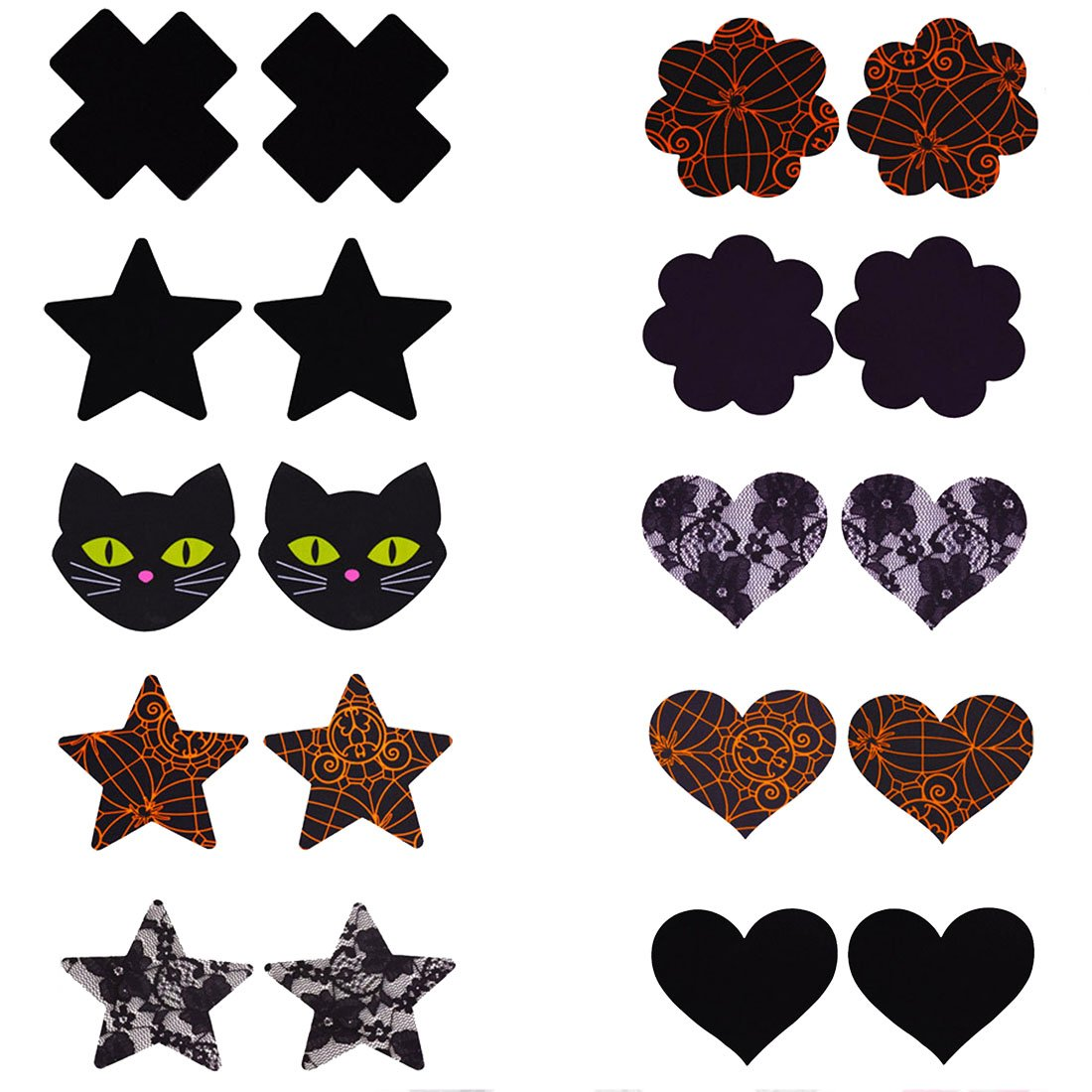 Festival Assorted Nipple Cover Satin Pasties Stickers Various Styles and Colors BRP035