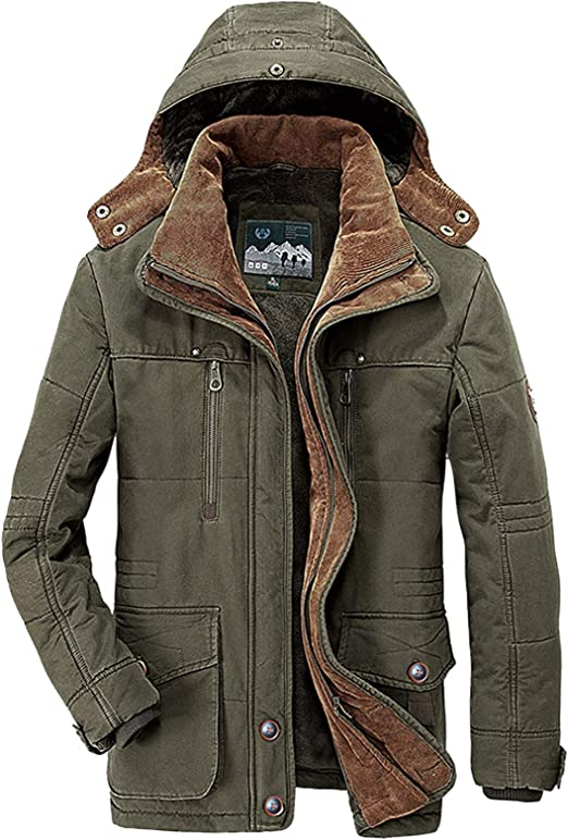 Men Fur Lined Hooded Jacket Thick Sherpa Fleece Winter Contrast Color Coat Tops