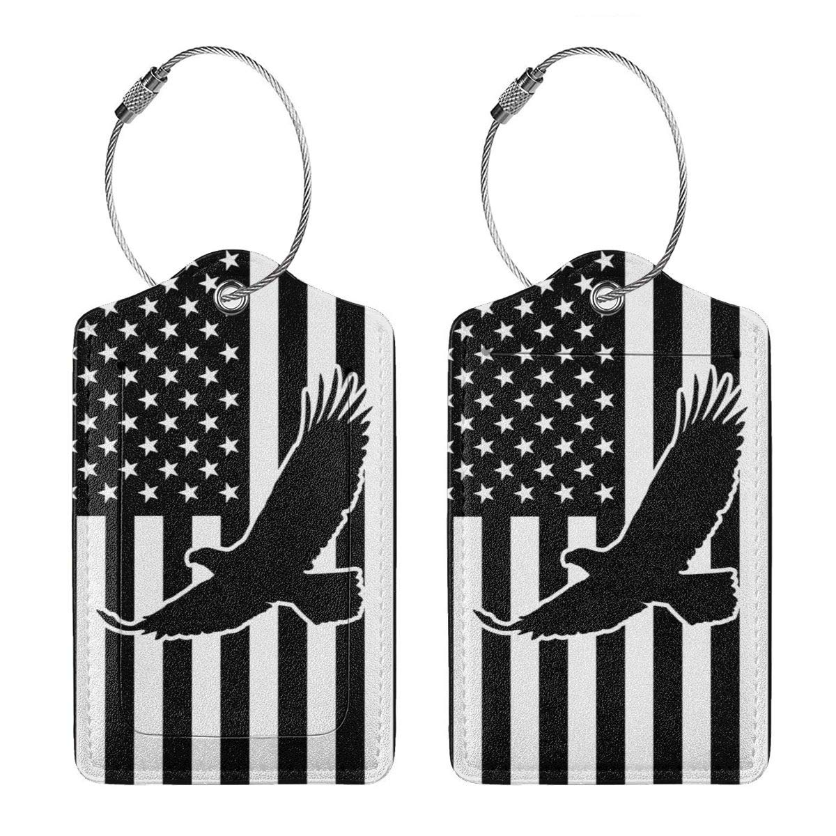 GoldK American Flag Eagle Leather Luggage Tags Baggage Bag Instrument Tag Travel Labels Accessories with Privacy Cover
