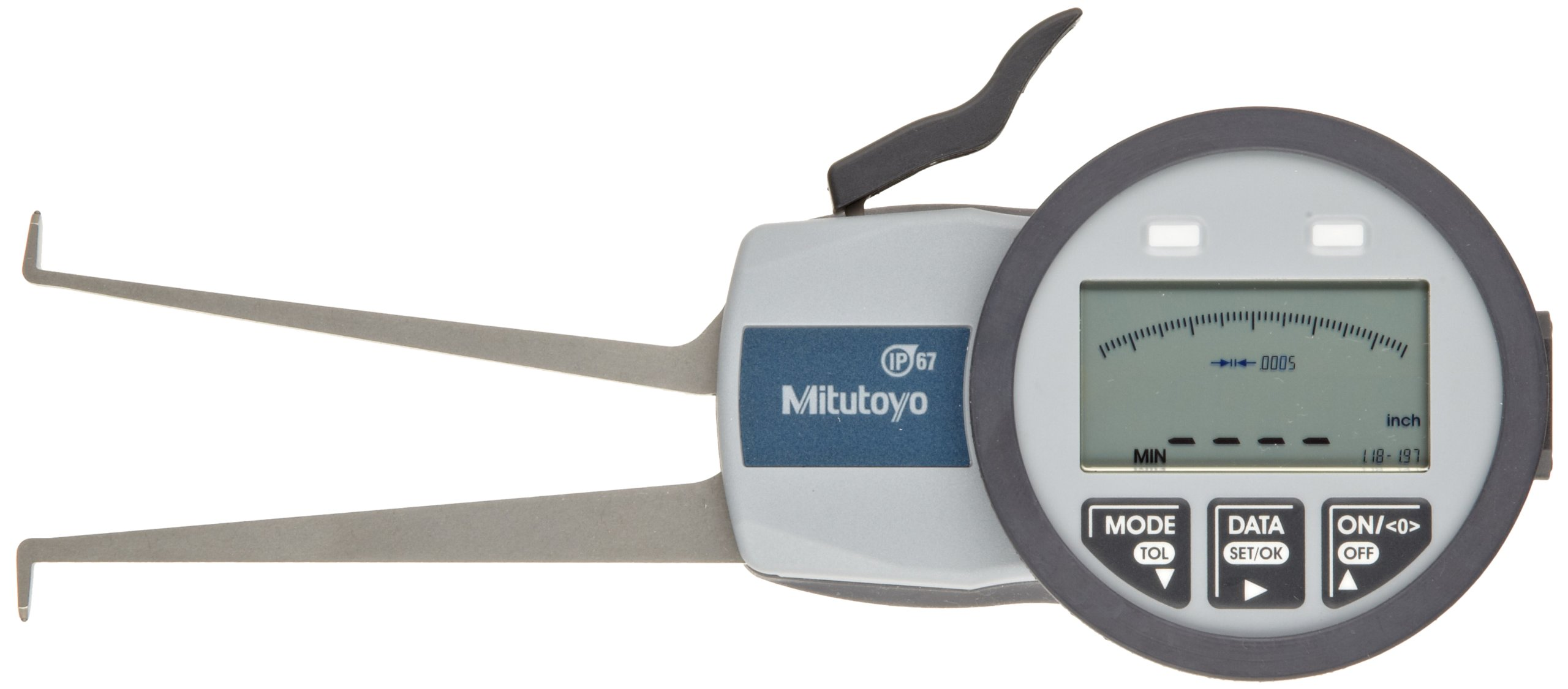 Mitutoyo 209-554 Caliper Gauge, Inch/Metric, Pointed Jaw, 1.18-1.97'' Range, +/-0.0015'' Accuracy, 0.0005'' Resolution, Meets IP63/IP67 Specifications