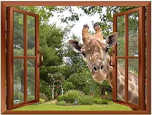 "wall26 A Curious Giraffe Sticking its Head into an Open Window Removable Wall Sticker/Wall Mural - 36""x48"""