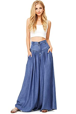 42f18146 Vibrant Women's Juniors Super Wide Leg Denim Pants at Amazon Women's ...