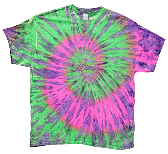 adfd709ddcf30 Thunder Tie-Dye Shirt - Short Sleeve Neon Pink Green Purple (XLarge ...
