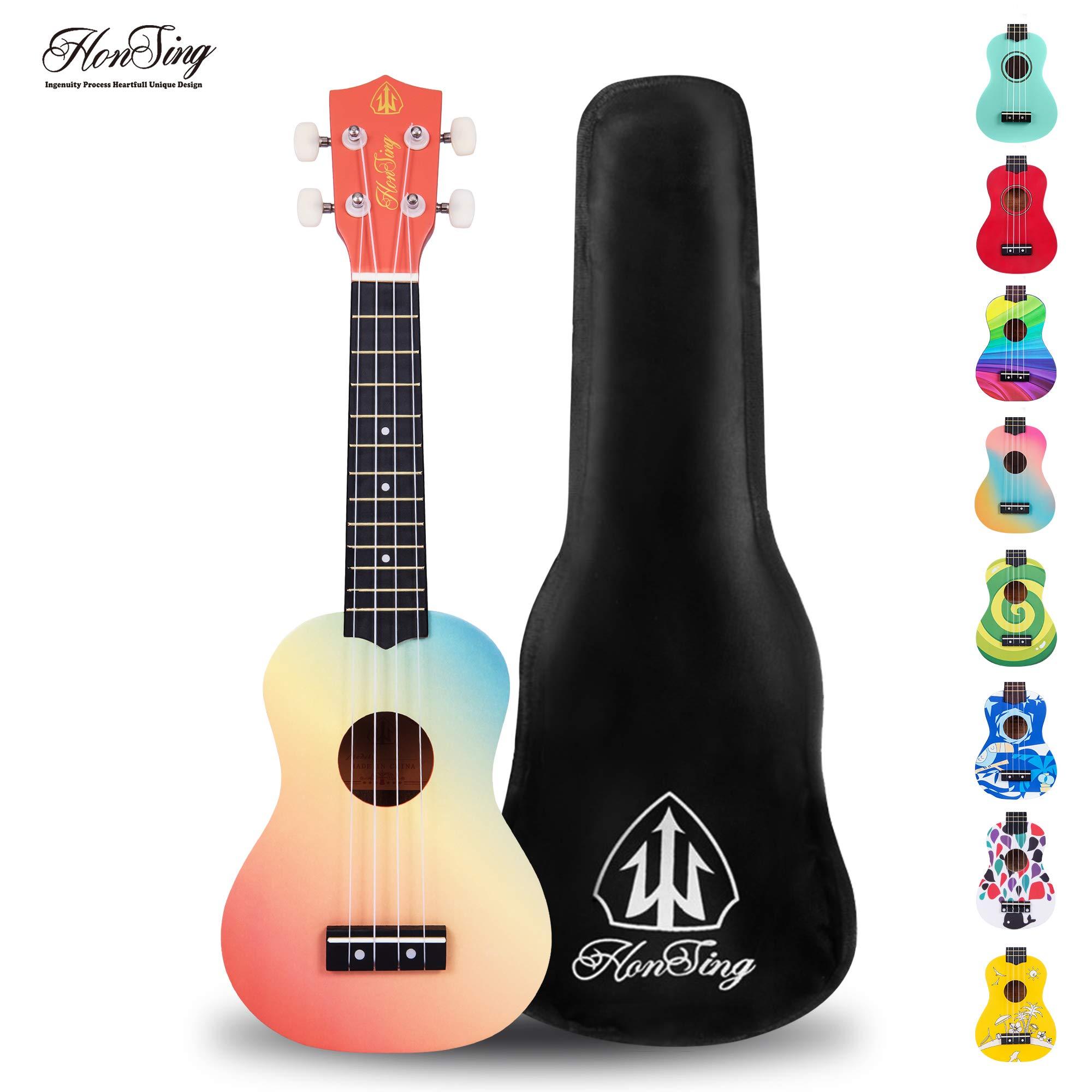 Honsing Kids Ukulele,Soprano Ukulele Beginner,Hawaii kids Guitar Uke Basswood 21 inches with Gig Bag- Rainbow Stripes Color matte finish by honsing