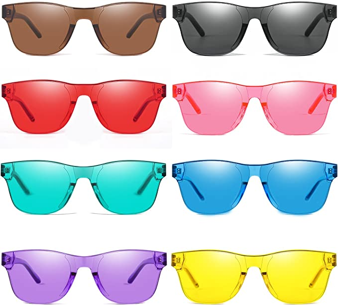 Ultrafun 6Pack Unisex Colored Sunglasses Transparent UV Protection Candy Color Rimless Glasses Oversized Tinted Eyewear for Valentines Party Cosplay Festival