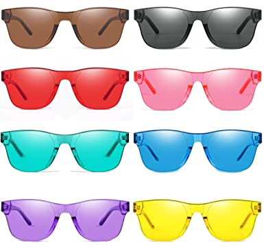 19695025a0bc Image Unavailable. Image not available for. Color: AOOFFIV One Piece  Rimless Tinted Sunglasses Transparent Candy Color Glasses