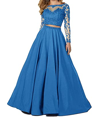 Sound of blossoming 2018 Two Pieces Beaded Prom Dresses Lace Illusion Long Sleeves Formal Evening Ball