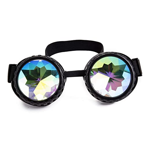 2371b84738c3 Image Unavailable. Image not available for. Color  Lelinta Steampunk  Kaleidoscope Goggles Rave Glasses Rainbow Crystal Glass Lens