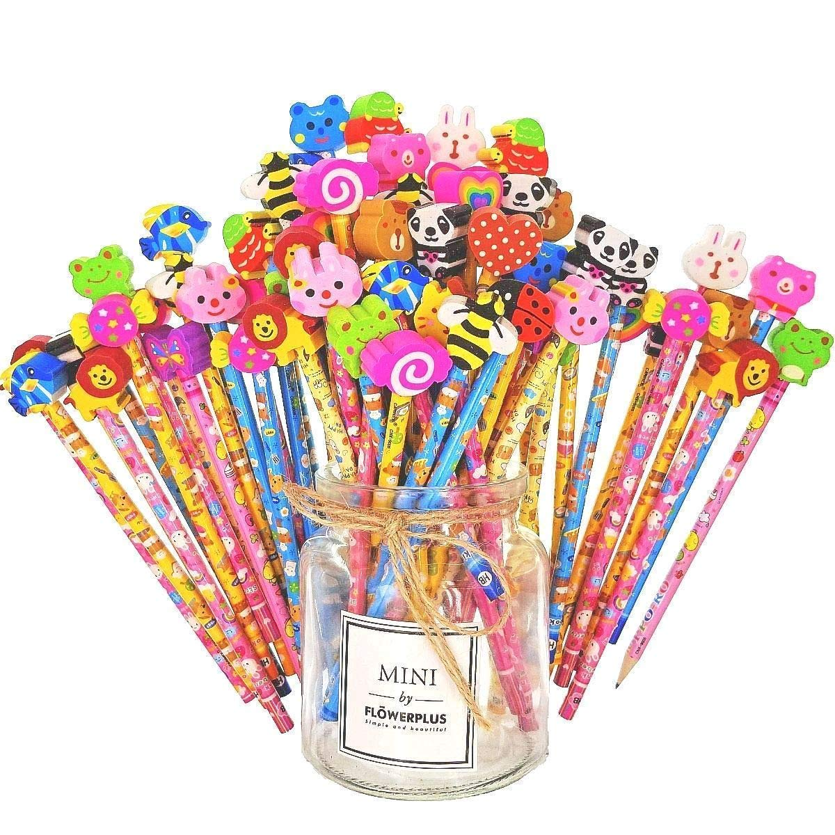JZK 50 x Wooden Graphite Pencils Set with Cartoon Rubber erasers for Kids Children Party Favours give Away Thank You Gift Party Bag Filler Birthday for Boys Girls by JZK