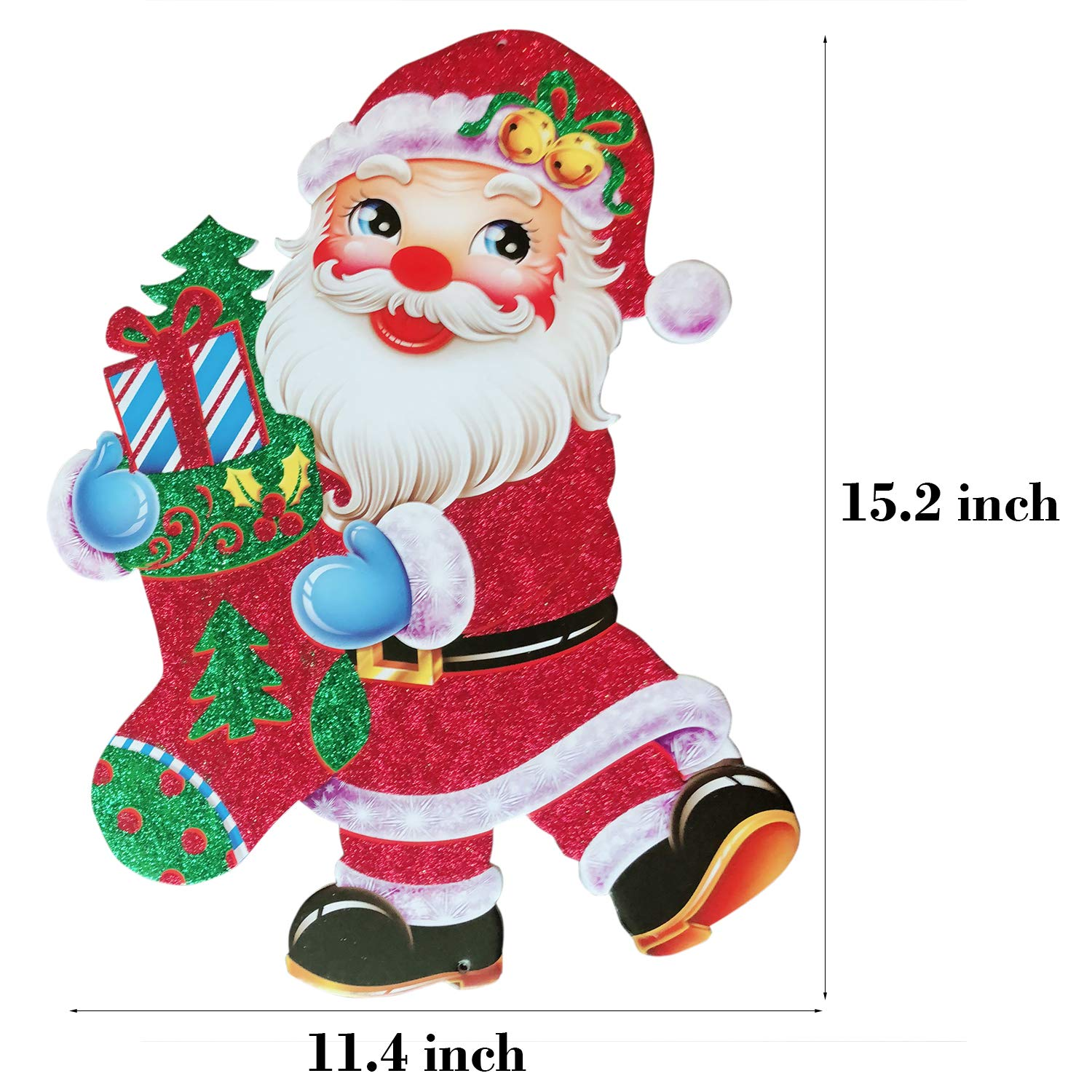 J 4pcs Christmas Door Hanging Sign Board Large Home Wall Hanging Decorations Ornaments Assorted Santa Claus Decorative Front Door Wreath for Holiday Party Indoor Outdoor Fireplace Show Window