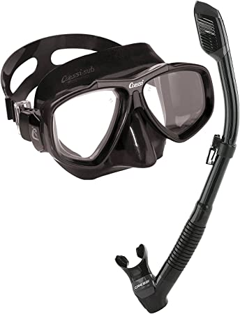 Cressi Sub Focus 2 Lens Scuba Diving Silicone Mask Made in Italy Yellow w// Black