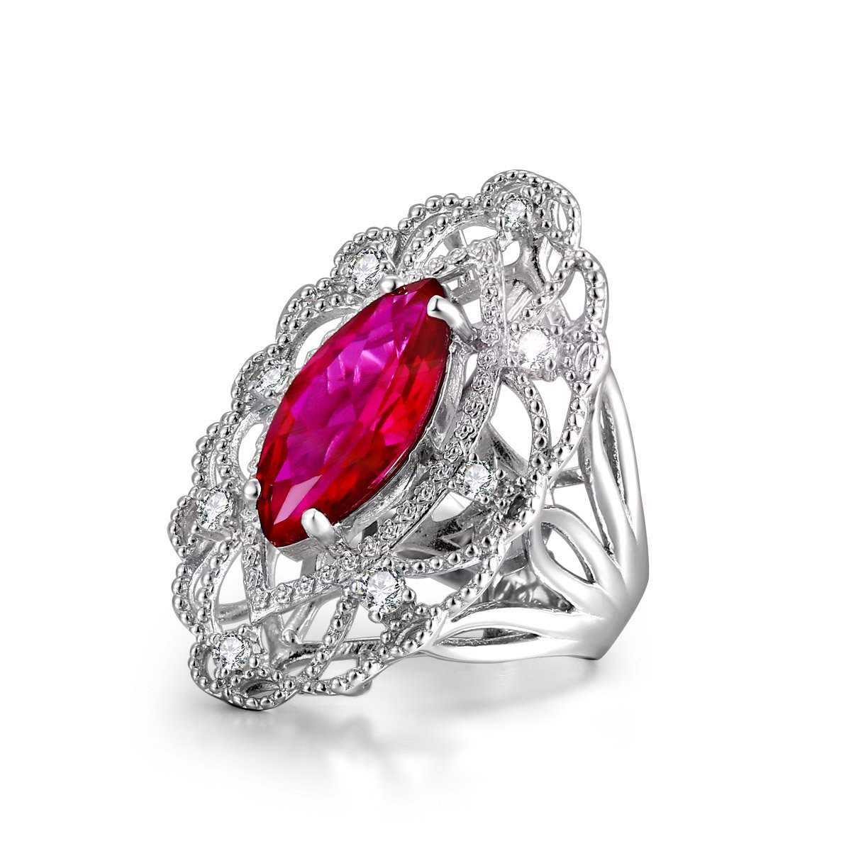 Caperci Vintage Sterling Silver Marquise Cut Fuscia Created Ruby Statement Ring with Diamond Accent Size 9