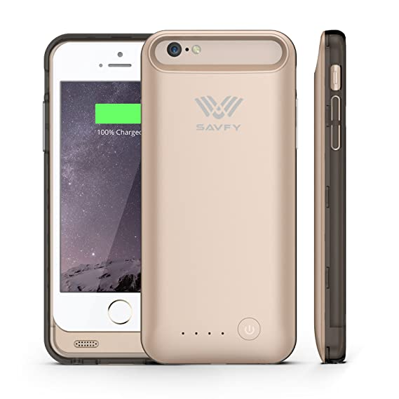 timeless design 0d29a bb1d5 [Apple MFi Certified] SAVFY iPhone 6 6s Battery Case 3100mAh Polymer  Battery Fast Recharge Rate Gold Battery Charger Charging Case Battery Pack  ...