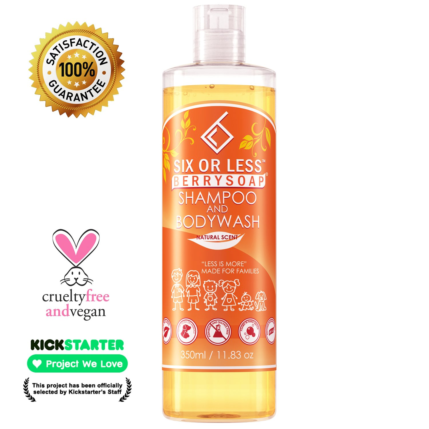 Six or Less Berrysoap Natural 2 in 1 Baby Shampoo & Body Wash, Only 6 Ingredients, Chemical-Free, Dye, Paraben, Gluten, Sulfate Free, Vegan Eczema Friendly Soap, Created by a Doctor, 14 Oz Bottle