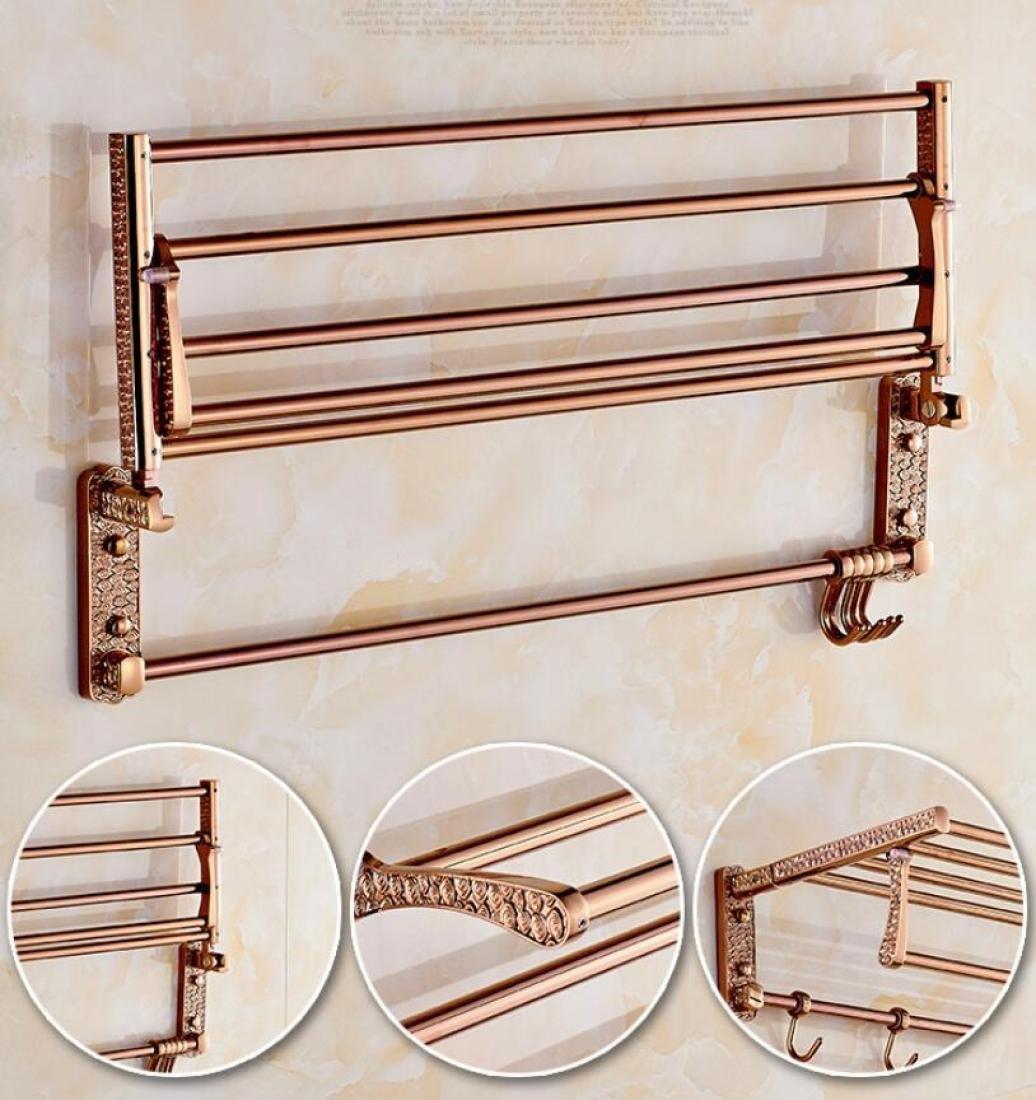 GL&G European luxury Rose gold Bathroom Bath Towel Rack Double Towel Bar Space aluminum Bathroom Storage & Organization Bathroom Shelf Shower Wall Mount Holder Towel Bars,6023.513.5cm by GAOLIGUO (Image #3)