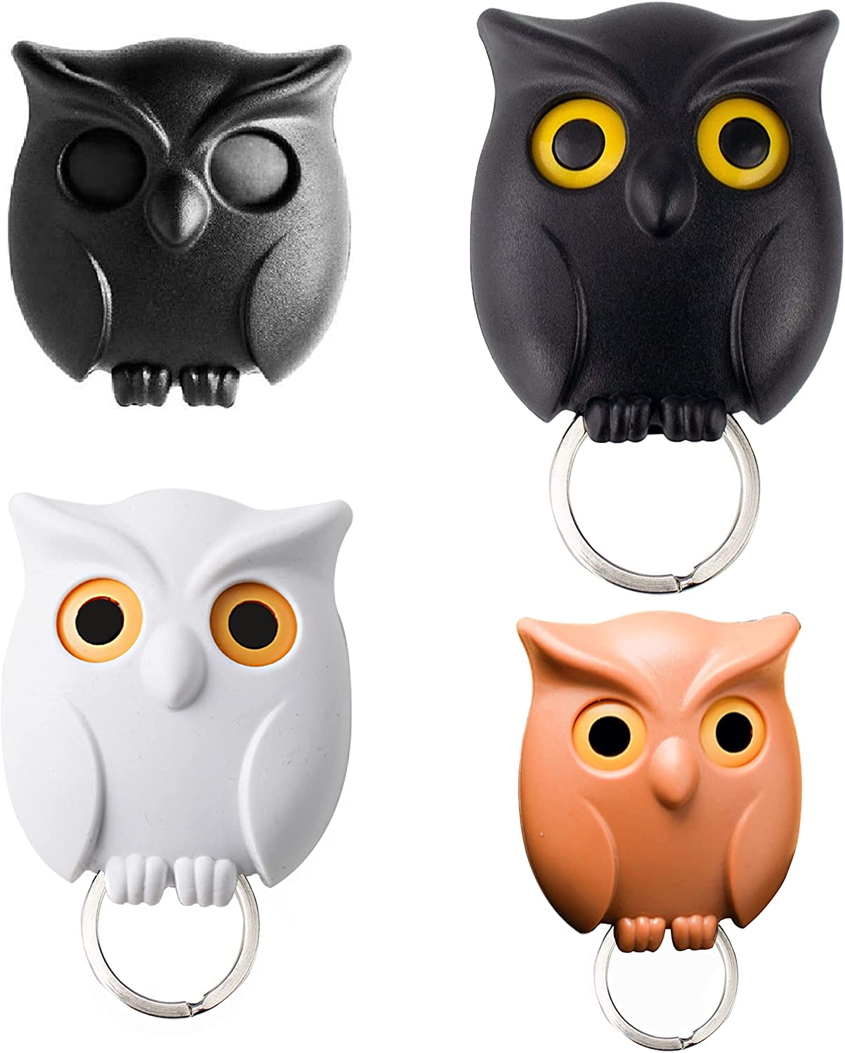 3PCS Owl Key Holder, Cute Night Owl Keyring Holder, Automatic Open Close Eyes Owl Keychain Holder with Magnetic Wall Mounted Creative Key Hanger Holder for Home Office