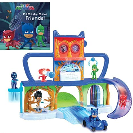 PJ Masks Make Friends! Paperback Book & PJ Masks Headquarters Track Playset Play Set Bundle