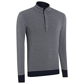 8619b0dad Ashworth Double Layer Stripe Half Zip Thermal Sweater Mens Golf Pullover-Fully  Lined Navy XXL