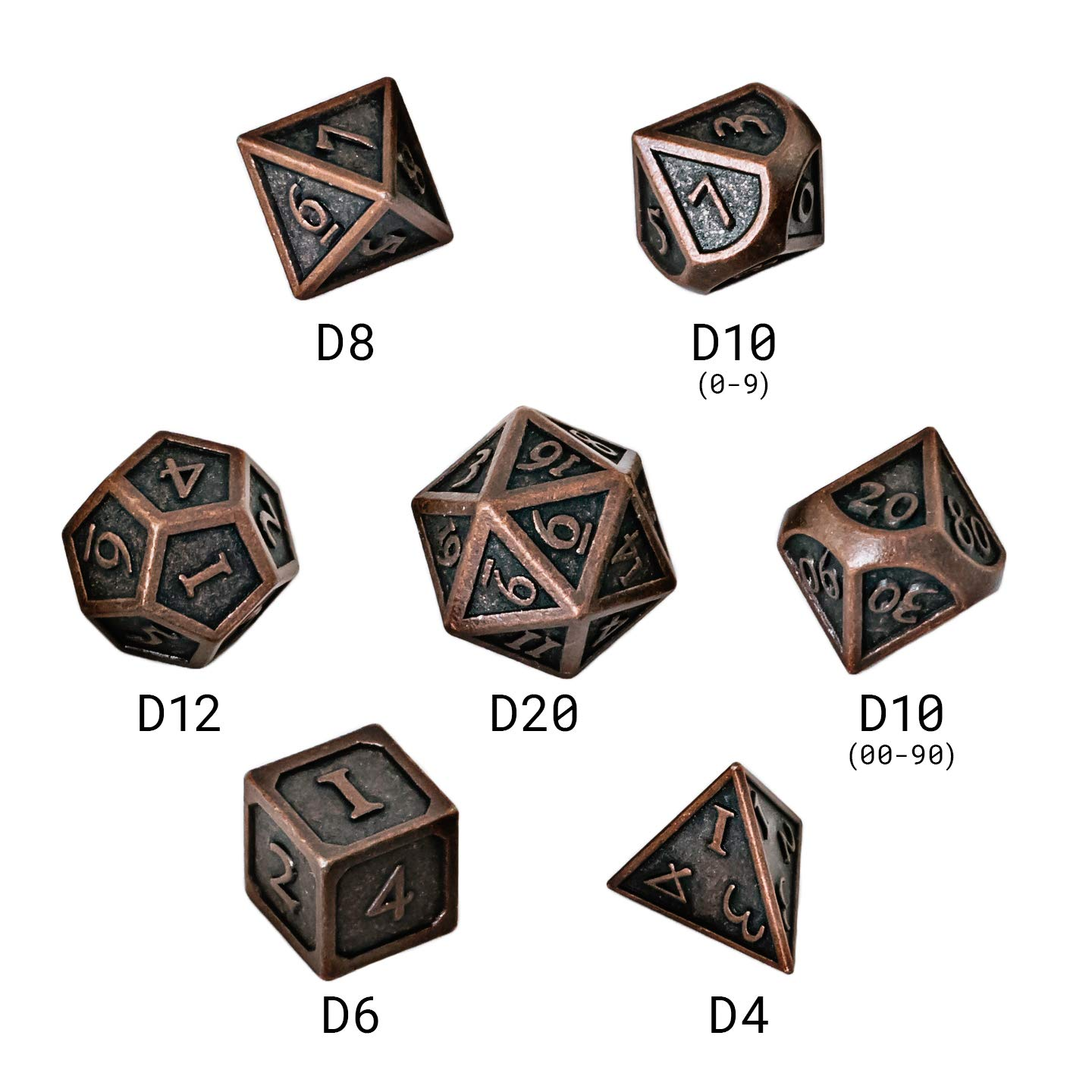 Blacksmith Craft DND Metal dice RPG Used in Dungeon and Dragon dice Games The Coolest Gift for Role Playing Science Magic Collection dice Set