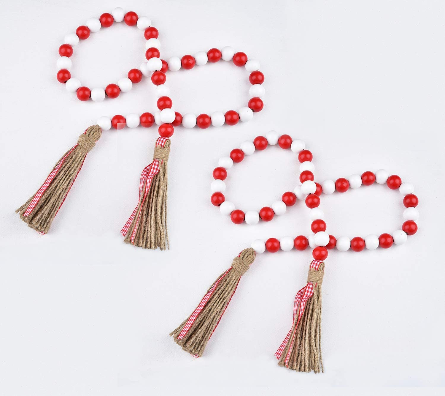 Wood Bead Garland 35Inch Hanging Garland Natural Prayer Bead Garland with Tassel for Farmhouse Home Room Decorations (Red + White)