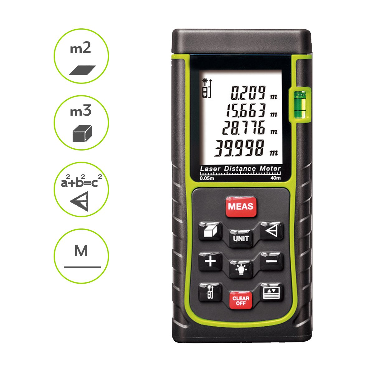 Distance Laser Meter, Handheld Range Finder Meter, Portable Measuring Device, Area/Volume/Distance/Pythagoras Calculation, Measurement Memory Recall, Tape Measure (40)
