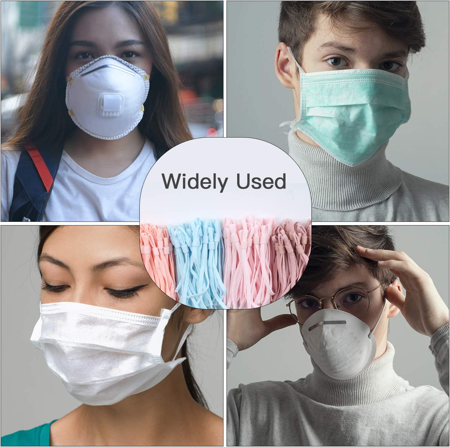 Stretchy Face Cover Earloop for Crafts DIY Mask AMLY 60 Pcs Elastic String Bands Cord Rope for Sewing with Premium Cord Lock