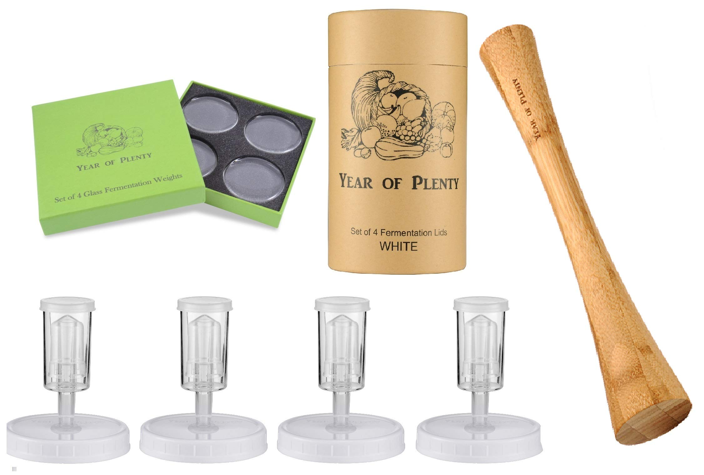 Year of Plenty Complete Fermenting Kit - Includes 4 White Fermentation Lids, 4 Fermentation Weights, one 12-inch Cabbage Bamboo Tamper (White)