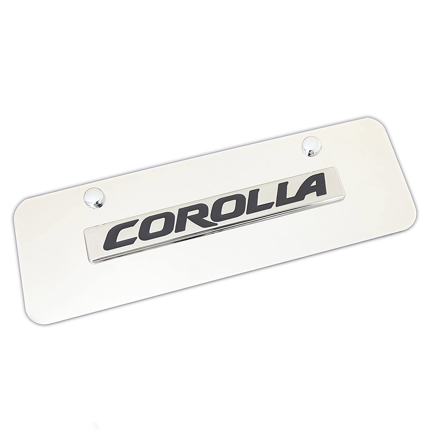 Toyota Corolla Name Badge On Mini Polished Stainless Steel License Plate