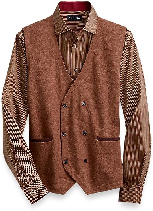 70s Jackets, Furs, Vests, Ponchos Paul Fredrick Mens Cotton Double-Breasted Sweater Vest $62.50 AT vintagedancer.com