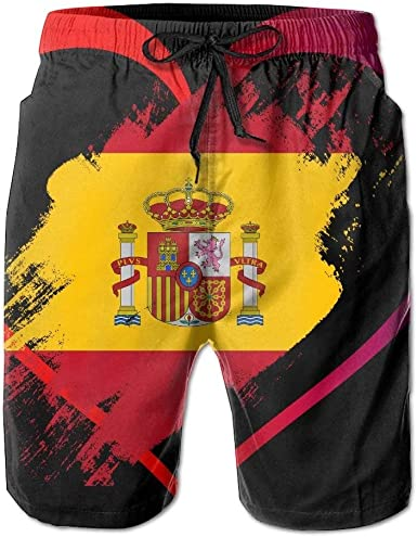 En Forma de corazón Bandera de España Pantalones Cortos de Playa de Verano para Hombre Troncos de baño Pantalones Cortos de Tablero con Bolsillos Bañadores de Secado rápido, Tamaño XXL: Amazon.es: Ropa