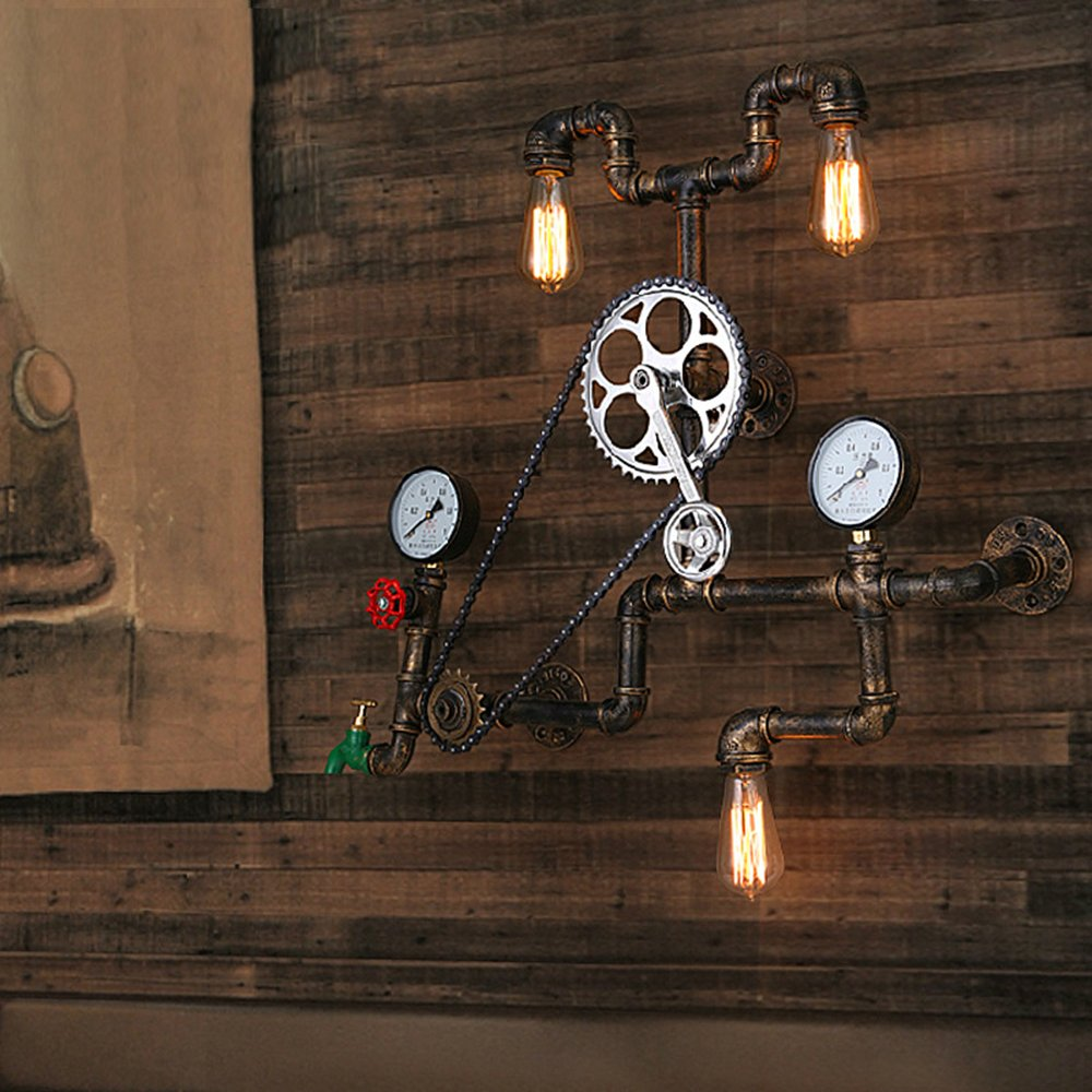 Industrial Retro Vintage Style Farmhouse Industry Steam Punk Wall Sconce - LITFAD 29.13'' Antique Bronze Three Light Water Pipe Wall Light with Bicycle Shape
