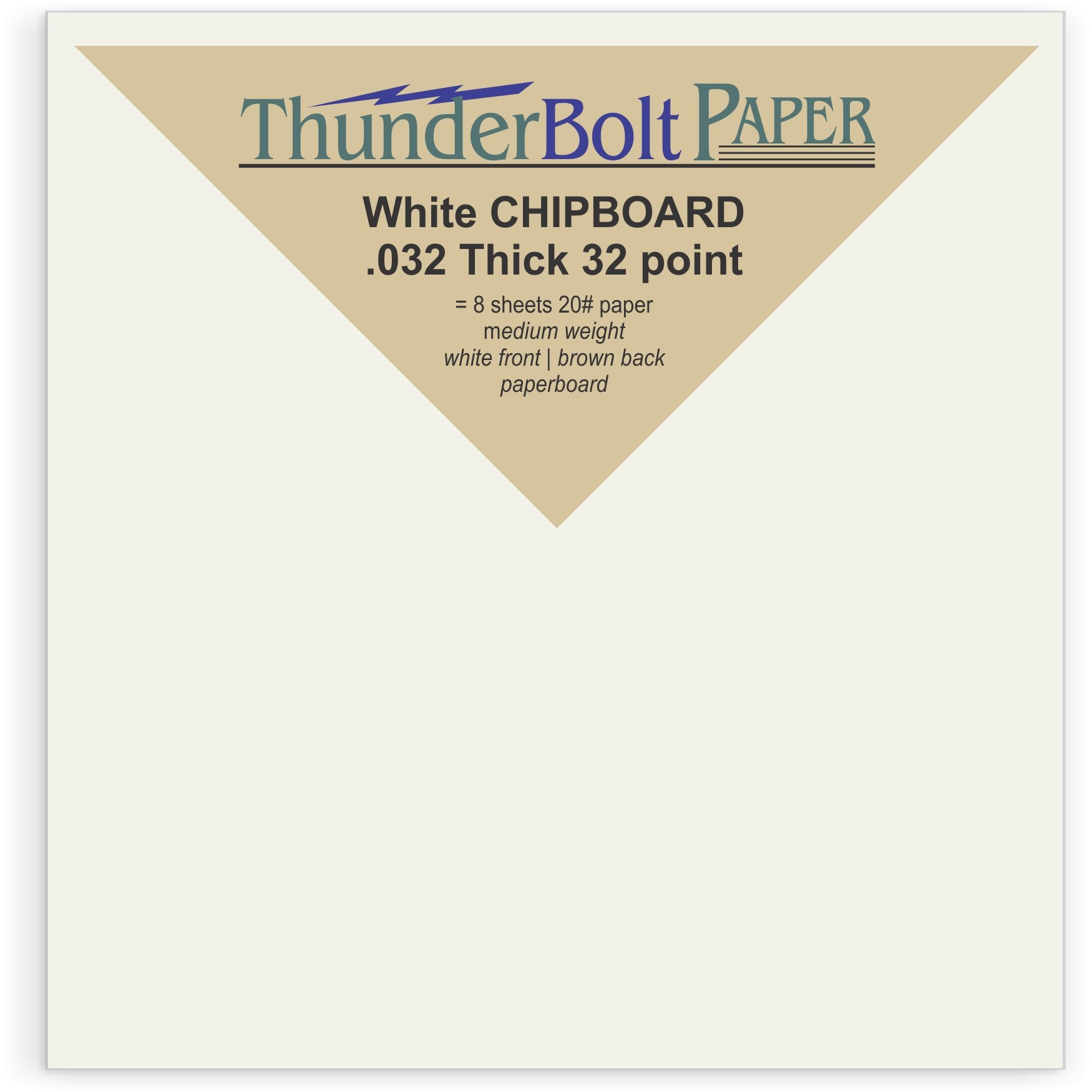 150 Sheets Chipboard 32pt (point) 4 X 4 Inches Medium Weight White Coated on Brown Kraft Square Size .032 Caliper Thick Paper Cardboard Craft|Packaging PaperBoard
