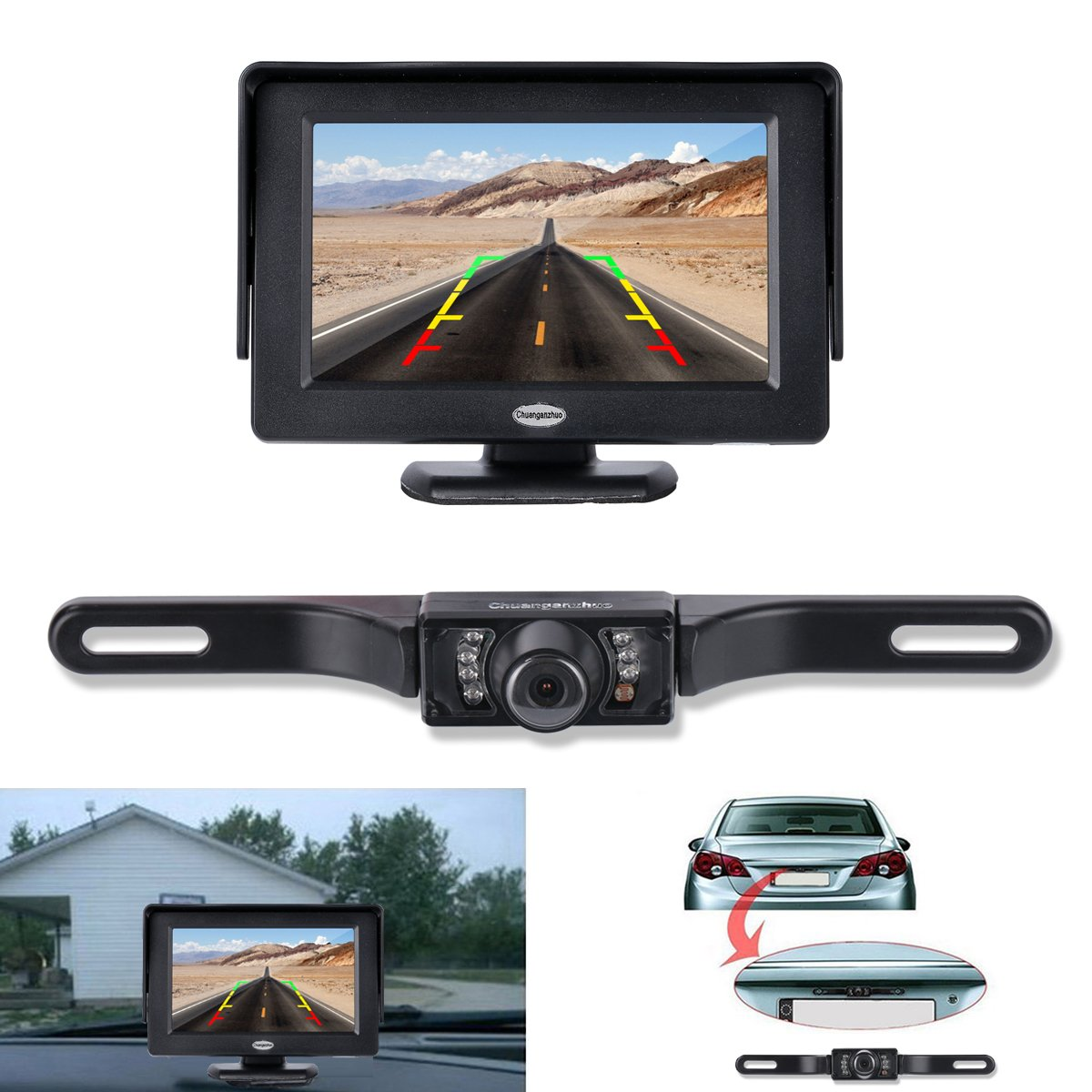 backup camera and monitor kit chuanganzhuo license plate cmos wide angle back ebay. Black Bedroom Furniture Sets. Home Design Ideas