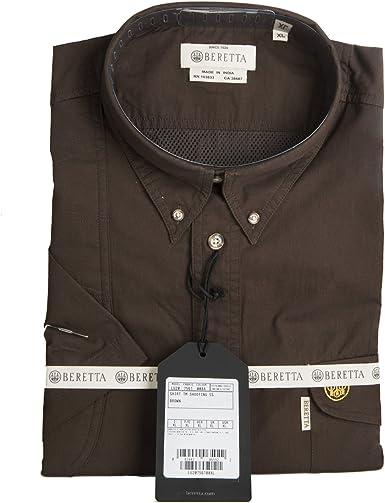 BERETTA Camisa de Tiro de Manga Corta de algodón con diseño de Plumas para Hombre