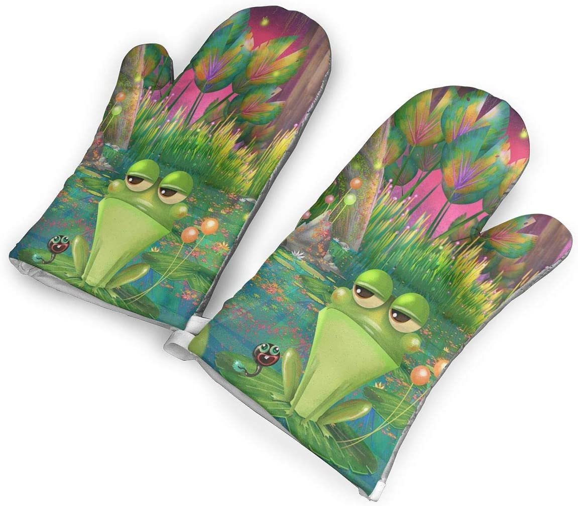 The Frog of Tsundere Kitchen Oven Mitts, Cotton Long Microwave Oven Gloves, Extreme Heat Resistant 572 Degrees Nonslip Gloves for Potholders Cooking, BBQ, Frying, Baking (1 Pair)