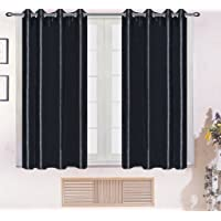 Persunhome Silky Drape Panel Chrome Metallic Grommet Curtain